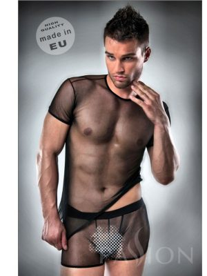 T-SHIRT + UNDERWEAR 017 NEGRO TRANSPARENTE BY PASSION S/M