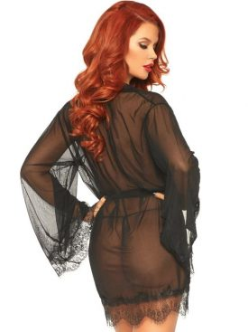 LEG AVENUE SHEER ROBE WITH FLARED SLEEVES S/M