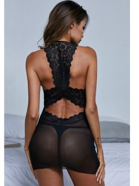 QUEEN LINGERIE BLACK V NECK LACE MESH CHEMISE L