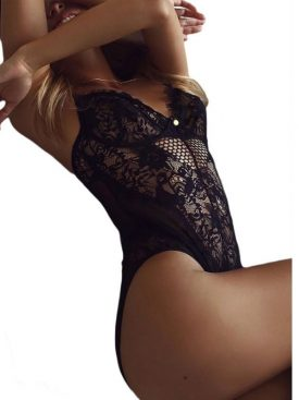 QUEEN LINGERIE SHEER MESH LACE CUPPED TEDDY