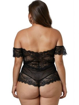 QUEEN LINGERIE PLUS SIZE LACE TEDDY BLACK XL