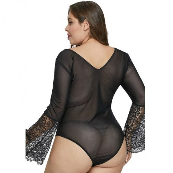 QUEEN LINGERIE PLUS SIZE BELL SLEEVE TEDDY BLACK XL