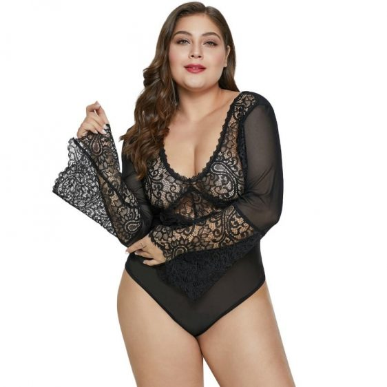 QUEEN LINGERIE PLUS SIZE TEDDY NEGRO XL QUEEN PLUS SIZE