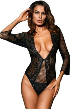 QUEEN LINGERIE TEDDY MANGA MEDIA NEGRO M