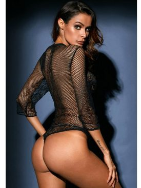 QUEEN LINGERIE BLACK FISHNET TEDDY M