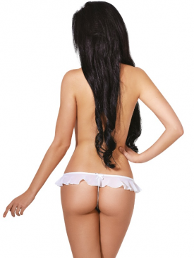 LE FRIVOLE - 04330 CROTCHLESS WHITE THONG WITH RUFFLES XS/S
