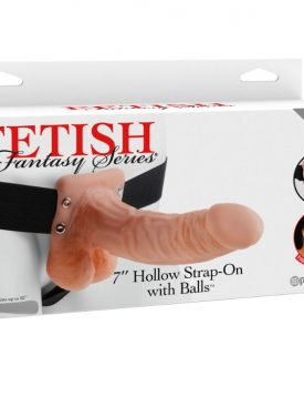 "FETISH FANTASY SERIES 7"" HOLLOW STRAP-ON WITH BALLS 17.8CM NATURAL"