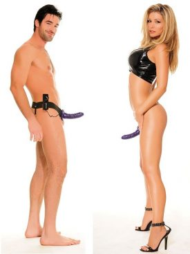 FETISH FANTASY VIBRATING HOLLOW STRAP-ON FOR HER OR HIM PURPLE.