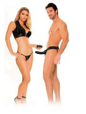 FETISH FANTASY VIBRATING HOLLOW STRAP-ON FOR HER OR HIM BLACK