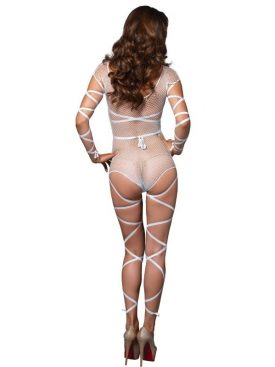 LEG AVENUE FISHNET TEDDY WITH WRAPS ONE SIZE