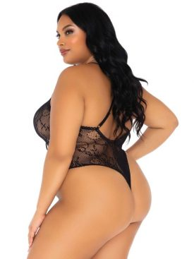 LEG AVENUE FLORAL LACE THONG TEDDY PLUS SIZE