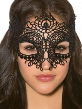 QUEEN LINGERIE BLACK LACE MASK ONE SIZE