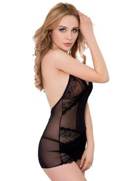 QUEEN LINGERIE BLACK LACE CHEMISE S/M