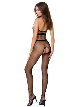 PASSION WOMAN BS048 BODYSTOCKING - BLACK ONE SIZE