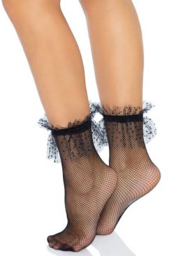 LEG AVENUE NET ANKLESS WITH DOTTED TULLE RUFFLE ONE SIZE